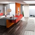 Ways to bring color to the Kitchen 15 Ways to bring color to the Kitchen contemporary kitchen interior design with colorful red orange and grey color scheme and wooden flooring also cloud pendant lights 120x120