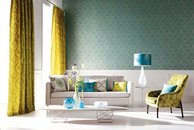 5 traditional living room design ideas 5 traditional living room design ideas 5 Traditional living room design ideas pretty interior with yellow curtain floral patterns and blue wallpaper in elegant living room 945x637