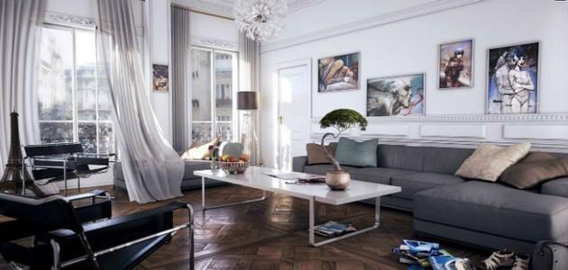 amazing contemporary gray rooms Amazing Contemporary Gray Rooms white modern living room gray chaise lounge sofa luxury fffffffffff