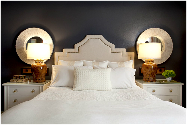 Bedroom Contemporary Orange County bedside table blue walls dark walls nailhead trim nightstand round mirrors table lamps upholstered headboard wall decor white bedding id 1443 - 10 Simple Decorating Ideas For Bedside Tables