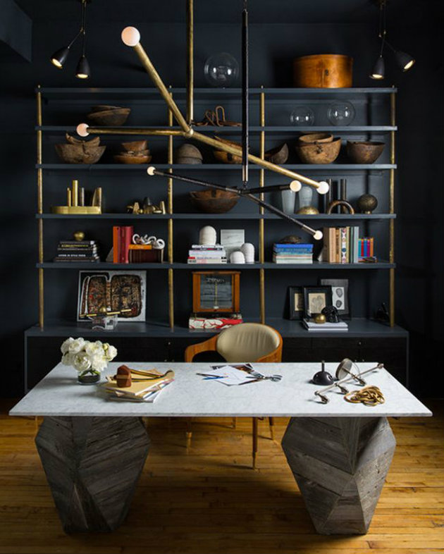 Home office decorating ideas for small apartments Home office decorating ideas for small apartments Luxury Home Office Blue Wall Sober1