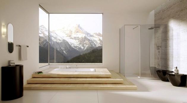 How to get a modern bathroom interior design How to get a modern bathroom interior design How to get a modern bathroom interior design Modern bathroom with large windows e1417183482348