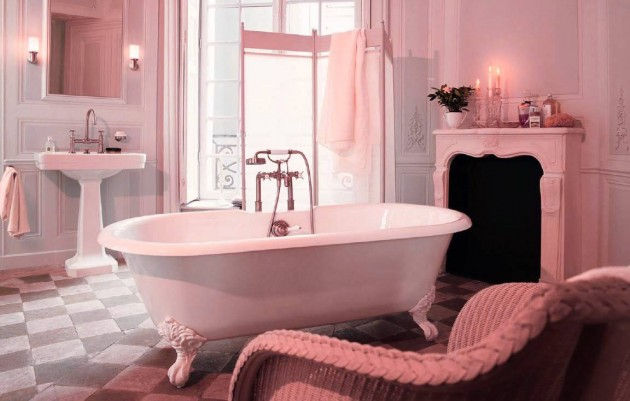 Bathroom decorating ideas for small apartments Bathroom decorating ideas for small apartments light pink vintage interior bathroom design e1417014339295