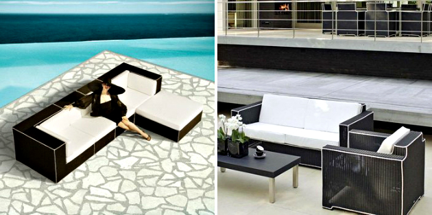 Outdoor Decorating Ideas using Black Furniture Outdoor Decorating Ideas Using Black Furniture Outdoor Decorating Ideas Using Black Furniture Black and white outdoor wicker furniture Haute Terasse by Borek 3