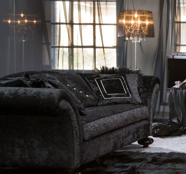 Living Room Decor with a Black Velvet Sofa