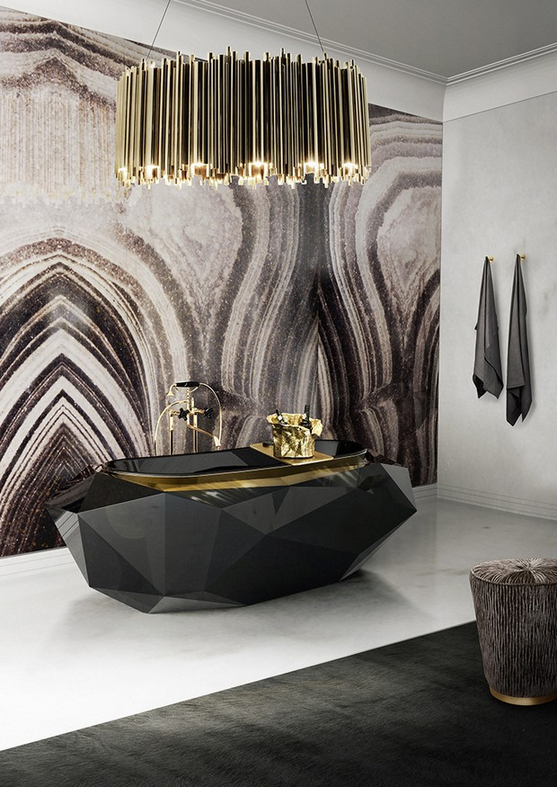 Bathroom especially if you combine it with a golden chandelier with