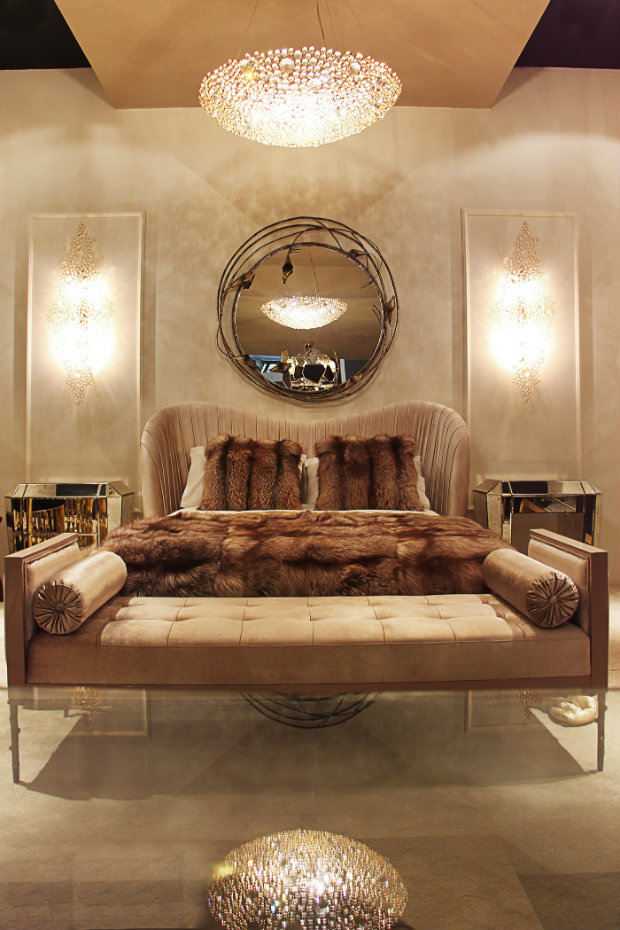 The Kelly Bed looks trendy in cream upholstery paired with the Stella Mirror and Prive Day Bed in this KOKET project. Luxury Bed Luxury Bed Collection for you to Sleep like a Princess beds2 koket love happens