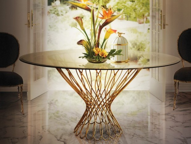 Elegant Entryway Table Designs The Most Elegant Entryway Table Designs vivre chandelier allure dining table enchanted chair koket projects e1460036392250