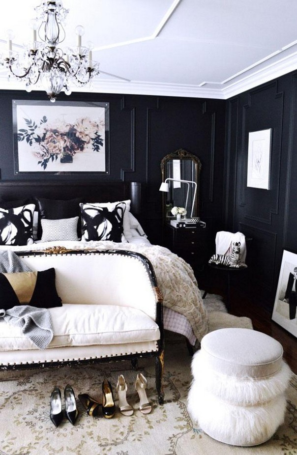 black and white bedroom with a pop of color trendy color schemes for master bedroom room decor ideas 21310