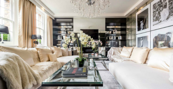 alexander mcqueen house Celebrity Homes: Alexander McQueen House Restoration in London Celebrity Homes Alexander McQueens House Restoration in London living room black and white 1 603x311