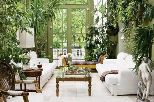 Interior Garden 10 Incredibly Good Room Ideas for an Interior Garden Amazing Home Indoor Design Decorating Ideas In A Living Room Sun Room Look Fresh Room Also White Sofa Glass Table Statue And White Tiles 603x402